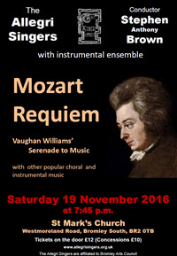 Allegri November 2016 Mozart Requiem Poster