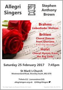 Allegri February 2017 Concert Poster